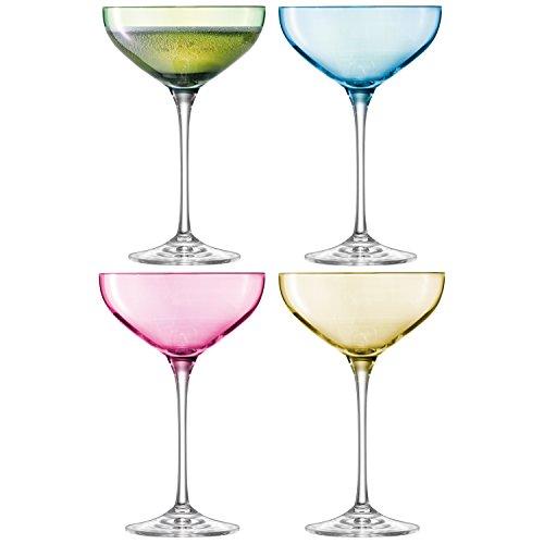 LSA International 390 ML Pois Champagne Soucoupe, Couleurs Assorties (Lot de 4)