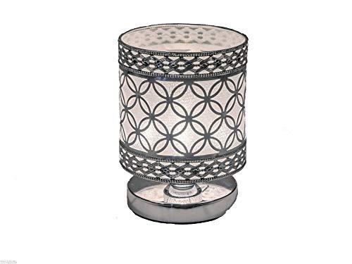 Formano Tischlampe Nachttischlampe Kreise Moderne Lampe Leuchte Silber Metall mit Folie hinterlegt (14 cm Kreise)