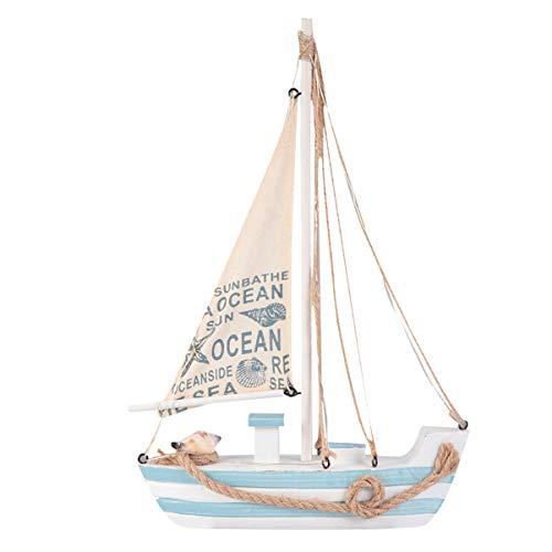 Tomaibaby Modelo de Barco de Vela de Madera con Luz Led Decoración Costera de Madera Rústica Decoración Náutica Estilo Mediterráneo Casa de Playa Adorno para Sala de Estar Dormitorio (Sin