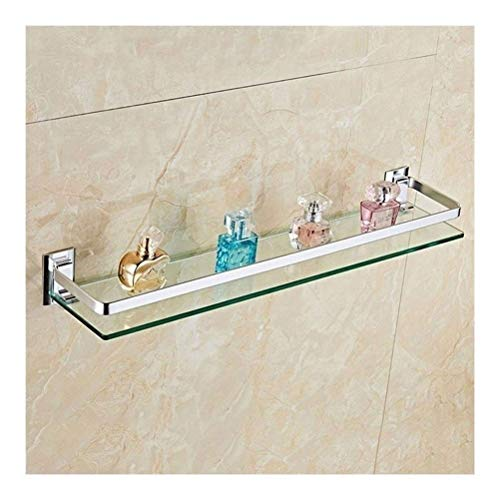 Bathroom shelves Drilling Bathroom Tempered Glass Shelf with Thick Glass Wall Mount Rectangular Anodizing Finish Bracket 1 Tiers (Size : 30cm)