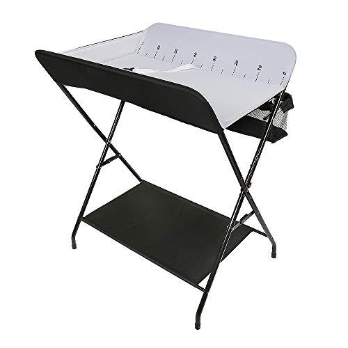 Table à langer Pliable et Mobile, Table à Langer Bébé avec Mesurer, env. 79 × 55,5 × 96 cm (Noir-blanc)