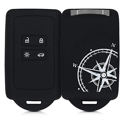 kwmobile Funda de Silicona Compatible con Renault Llave de Coche Smart Key de 4 Botones (Solo Keyless Go) - Carcasa para Llave de Coche - Case para Mando de automóvil Aguja magnética