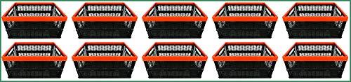 Novaliv Klappboxen faltbar stabil | 10x 30L Rot Schwarz Baskets Einkaufskiste| Klappkisten Set Tragebox Aufbewahrung Einkaufskörbe Körbe Aufbewahrung Küche