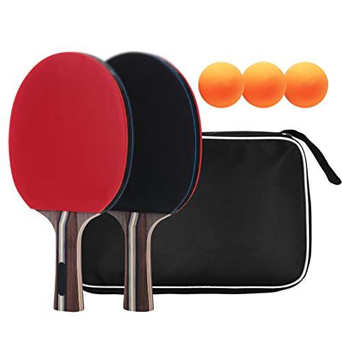 Juego de Tenis de Mesa, Raquetas de Tenis de Mesa, 2 Raquetas de Tenis de Mesa, 3 Pelotas de Ping-Pong,1 Bolsa de Malla, para niños Adultos,Rojo