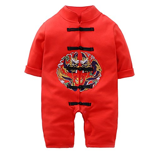 Chinese Dragon Outfit Tang Suit for Baby Clothes Embroidery Style Long Romper Long Sleeve Tang Suit Red