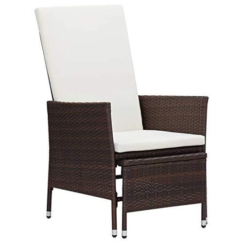 Galapara Gartensessel, Garten-Liegestuhl mit Auflagen Poly Rattan, Rattansessel Rattanstuhl mit Armlehnen Lounge Flechtsessel