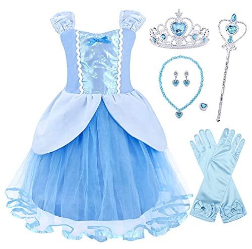 Jurebecia Vestito Principessa Bambina Abito da Principessa Cenerentola Abito da Festa Fantasia Outfit Festa di Compleanno Halloween Principessa Ragazze Abiti Blu