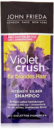 John Frieda Violet Crush – Champú intensivo plateado – con pigmentos violetas – 25 ml