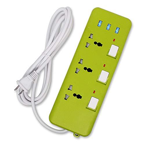 Regleta de alimentación Universal con 2 Clavijas, regleta de alimentación USB con Enchufe Universal de 3 Salidas de interruptores Individuales, Protector contra sobretensiones en Todo el Mundo