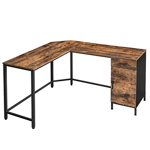 VASAGLE ALINRU Corner Desk, L-Shaped Computer Desk with Cabinet and Drawer, Study, Home Office, Space-Saving, Steel, Industrial, 53.9 x 59.1 x 29.5 Inches, Rustic Brown and Black ULWD74X