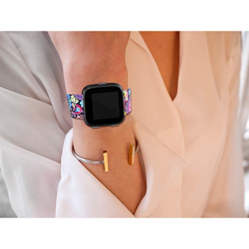 Maledan Bands Compatible with Fitbit Versa 2/Versa/Versa Lite SE Smartwatch for Women Men, Colorful Jellyfish, Small