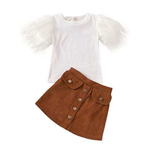 DuAnyozu Toddler Little Girl Skirt Outfits Feather Sleeve Tshirt Tops & Mini Corduroy Skirts Kids Fashion Clothes (A-White Feather Sleeve,5-6T)