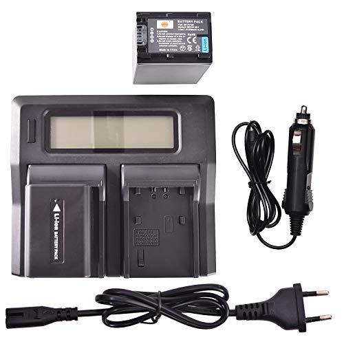 DSTE® 2 Pack Repuesto Batería NP-FV100 + LCD Cargador Doble Canal Compatible para Sony DCR-SR15,DCR-SR21,DCR-SR68,DCR-SR88,DCR-SX21,DCR-SX44,DCR-SX45,DCR-SX63,DCR-SX65,DCR-SX83,DCR-SX85 Cámara