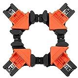 コーナー クランプ 4個 セット 90° 直角 木工定規 直角定規 直角クランプ DIY 工具 クランプ (オレンジ 4個)