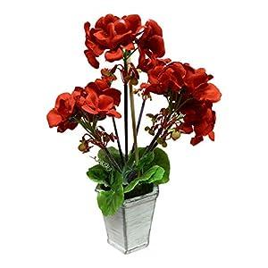UK-Gardens Planta artificial en maceta de 30 cm, diseño de geranio rojo en maceta moderna gris Shabby Chic