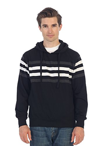 Gioberti Mens French Terry Pullover Striped Hoodie Sweater, Black, XX Large