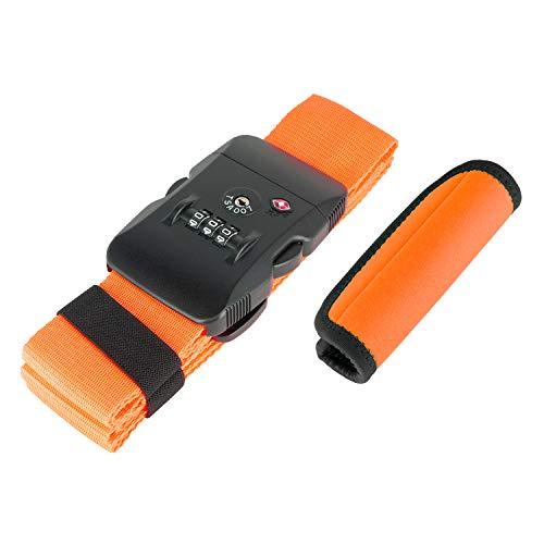 ミヨシ スーツケースベルト オレンジ W5cm×H188cm スーツケースベルトとハンドグリップのセット MBZ-MZ03/OR