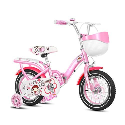 Bicicleta enérgica Plegable for Niñas Infantil con Ruedas De Entrenamiento Y Freno De Mano Princess for 2-4 Años 3-8 Años Y 8-12 Años Rosado Morado