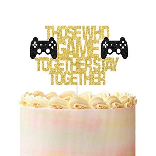 Those Who Game Together Stay Together Cake Topper,Video Game Geeky Cake Decor,Quirky Wedding Cake Topper, Nerdy Wedding Decorations, Video Game Theme Wedding Supplies