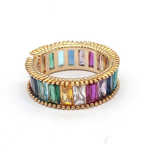 Happyyami Anillo de Baguette Arcoiris Colorido Piedra Preciosa Diamante Esmeralda Corte Anillo Ajustable Abierto Dedo Anillo Joyería