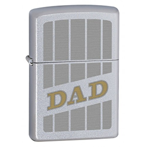 Zippo Auto Two Tone Engrave Dad Windproof Lighter - Satin Chrome