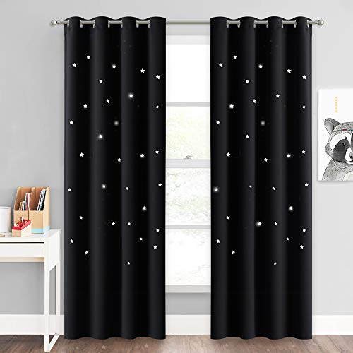 NICETOWN Room Darkening Curtains Stars - Nap Time Night Sleep Bedroom Room Decor Drapes with Magical Hollow Stars Design for Baby Nursery/Bedroom/Living Room (Set of 2, W52 x L84, Black)