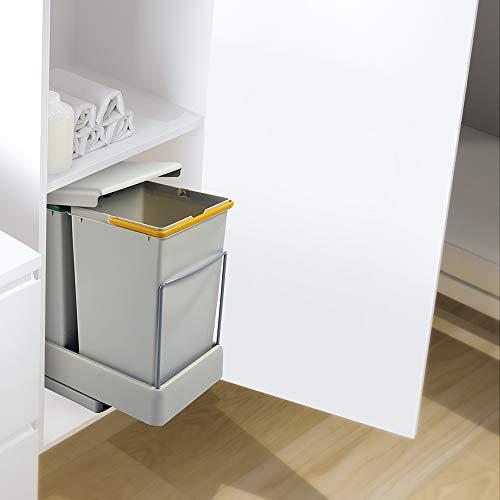 Emuca 8077221 8077221  Contenedores de reciclaje fijación Inferior y extracción automática con 2 vasos de 14 litros
