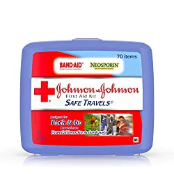 first aid kits, best compact travel first aid kit, johnson & johnson brand safe travels portable first aid kit