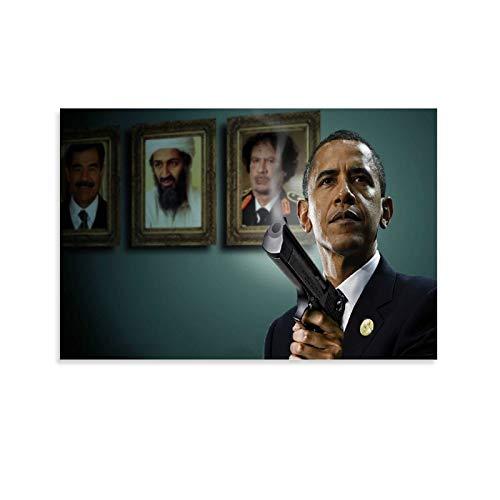 AJKAJK Barack Obama with A Gun Poster dekorative Malerei Leinwand Wandkunst Wohnzimmer Poster Schlafzimmer Malerei 12x18inch(30x45cm)