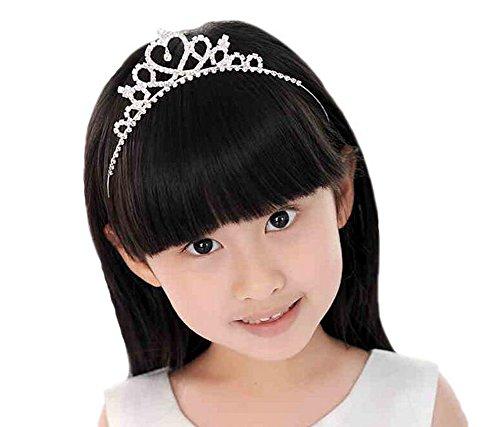 Girl 's Strass Prinzessin Krone in Herz Haarband Brautschmuck Tiara Party mit Kopfbedeckungen Stirnband Zubehör für Mädchen Kinder, Silber