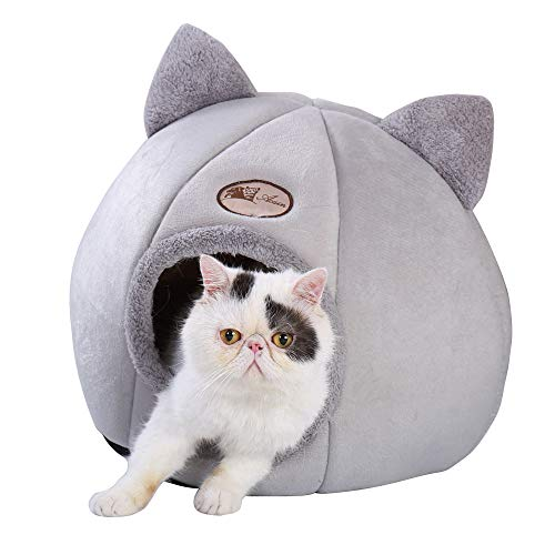 VisionGood Cosy Cat Bed, for Cats/Small Dogs with with Removable Washable Cushion Pillow, Medium&Large Size, Grey (Large)