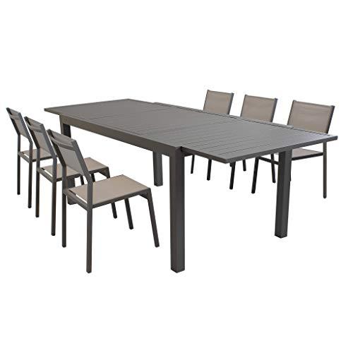 Milani Home s.r.l.s. Set Tavolo Giardino Rettangolare Allungabile 160/240 X 90 con 6 Sedie in Alluminio E Textilene Taupe da Esterno