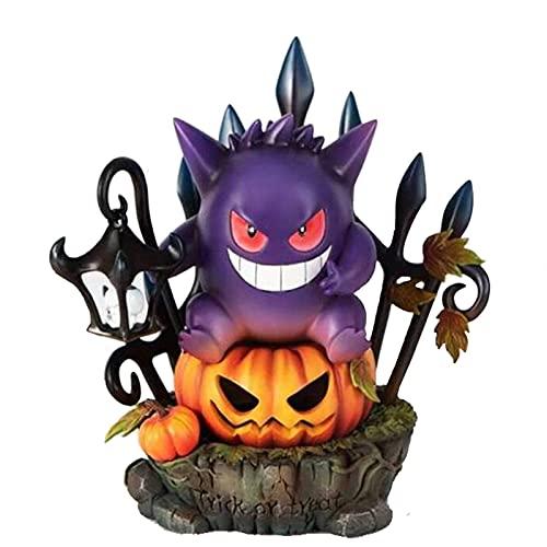Halloween Geng Fantasma Calabaza Linterna Brillante Estatua Decoración de Jardín Artesanía Decoración de Calabaza Interior y Exterior Decoración de Calabaza