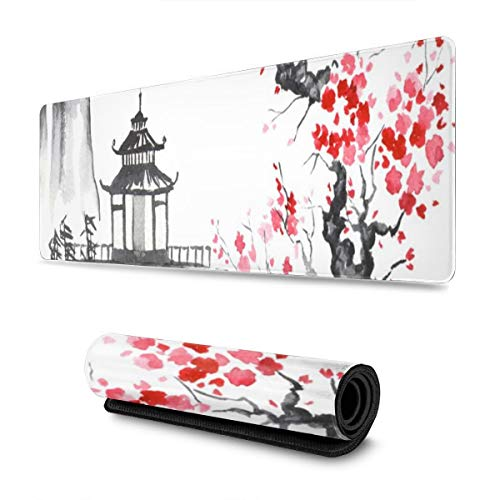 Gaming Mouse Pad Japan Sakura Temple Extended Large Mouse Mat Durable Non-Slip Rubber Base Water-Resistant Mousepad