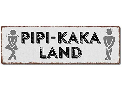 Interluxe Metallschild - PIPI-Kaka-Land - Schild, Türschild, Blechschild für WC, Bad, witziges Toilettenschild für das Gäste-WC oder Badezimmer