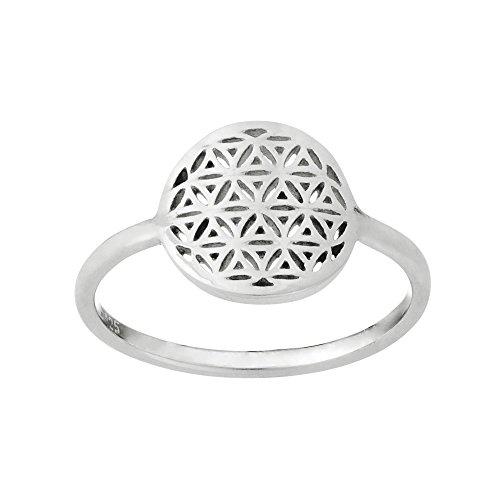 81stgeneration Frauen .925 Sterling Silber Dünnes Band Runden Blume des Lebens Geometrisch Ring