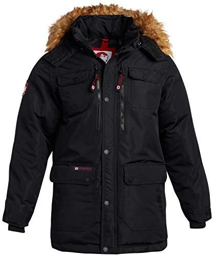 CANADA WEATHER GEAR Mens Heavyweight Teflon Canvas Parka Jacket, Size Large, Black/Natural