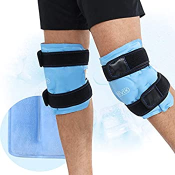 REVIX Ice Packs for Knee Injuries Reusable Gel Ice Wraps with Cold Compression for Injury and Post-Surgery Plush Cover and Hands-Free Application A Set of Two