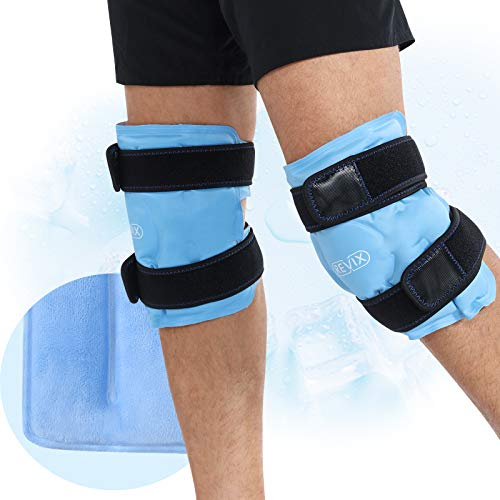 REVIX Ice Packs for Knee Injuries Reusable, Gel Ice Wraps with Cold Compression for Injury and Post-Surgery, Plush Cover and Hands-Free Application, A Set of Two
