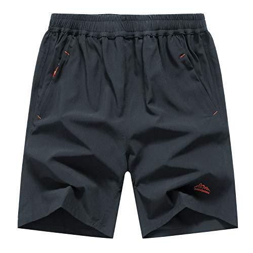 MAGCOMSEN ランニング ショーツ メンズ 吸汗 速乾 ドライ ハーフパンツ フィットネス パンツ ジム用 海パン 水着 クライミングパンツ ナイロンパンツ グレー CN 2XL=JP L