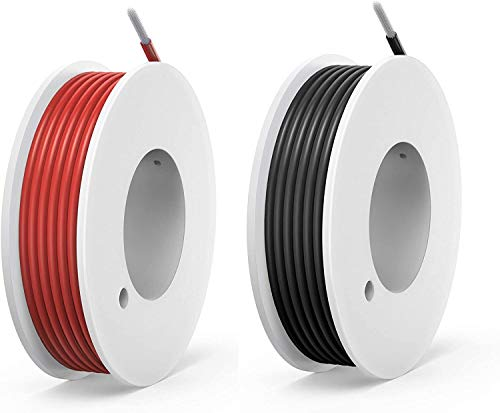 NorthPada 24 AWG 0,2mm² Alambres eléctricos Kit de Cable Eléctrico Cables de silicona Cable de cobre estañado 2 Colores(Negro+Rojo) 300V 2A 18 Metros