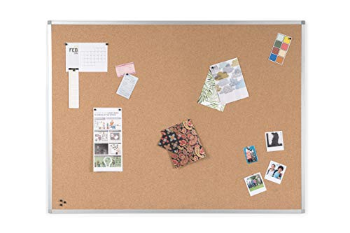 BoardsPlus - Bacheca In Sughero, 120 x 90 cm, Con Cornice Sottile In Alluminio Anodizzato, Lavagna In Sughero Autorigenerante