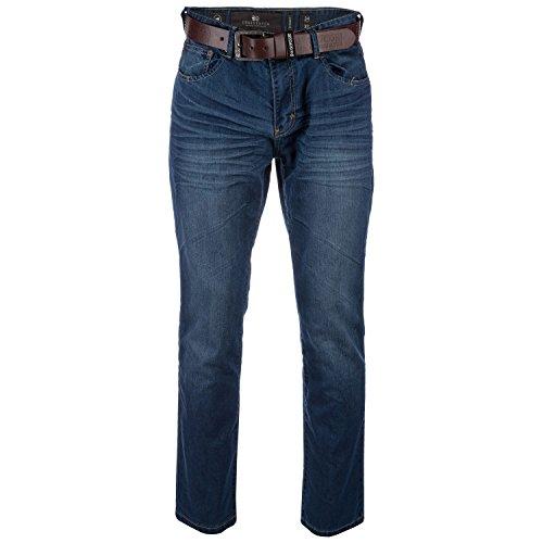 UKMiniMarket Crosshatch da Uomo Nuovo Finotto Gamba Dritta Regular Slavati Denim Jeans con Cintura - Jeans, Taglia: 36R
