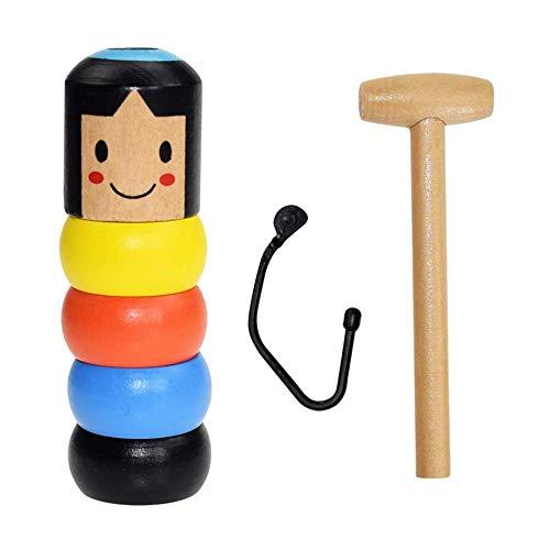 Feeke Unbreakable Wooden Man Magic Toy,Immortal Daruma Funny Toy Stage Magic Props Halloween Christmas Magic Tricks (1 Pack Wooden Man Magic Toy)