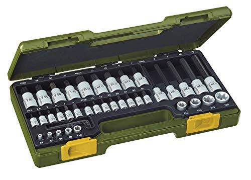 PROXXON Spezialsatz für TX- und Innensechskantschrauben, Für 1/4'-Vierkantantrieb und 1/2'-Vierkantantrieb, 42-teiliges Werkzeug-Set mit Kunststoffkoffer, 23290