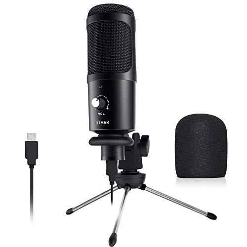 USB Mikrofon, hochempfindliches JEEMAK latenzfreies Metallkondensator-Mikrofon mit Rauschunterdrückung, Nierencharakteristik für Konferenzen, Chats, Gaming auf Computer, PC, Laptop