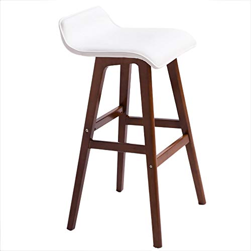 YAN JUN Bar Chaise Nouvelle Chaise En Bois Moderne Simple Style Cafe Tabouret 74cmH (Couleur : Blanc)