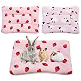 2Pcs Small Animal Plush Bed, Guinea Pig Hamster Rabbit Bed Mat for Bunny,Chinchilla,Squirrel,Hedgehog 12x14inch (Strawberry&Sheep)