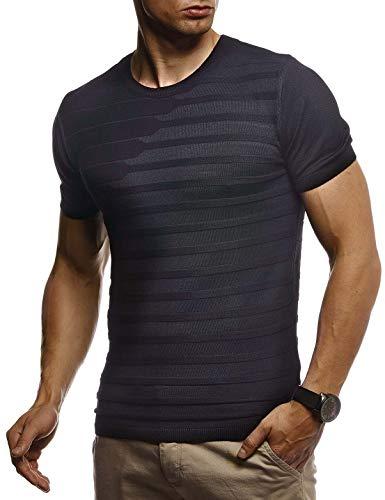Leif Nelson Herren Sommer T-Shirt Rundhals Ausschnitt Slim Fit aus Feinstrick Cooles Basic Männer T-Shirt Crew Neck Jungen Kurzarmshirt O-Neck Sweater Shirt Kurzarm Lang LN7300 Schwarz Medium