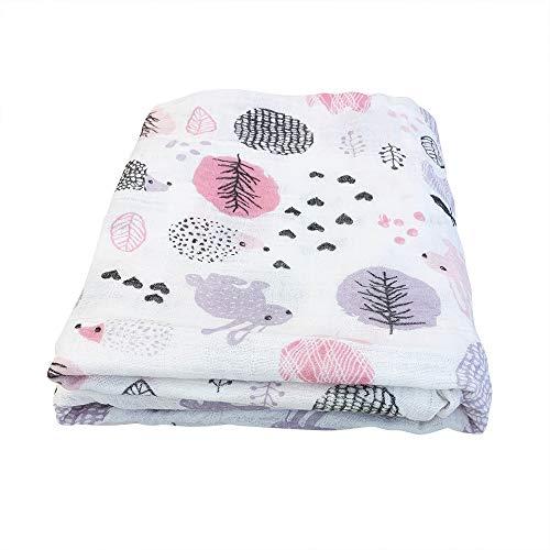 Miracle Baby Musselin Babydecke, Superweich Baumwolle Kuscheldecke, Einschichtig Decke Pucktüche für Kinder et Baby Kinderwagen und Babyschale 150x110 cm(Kaninchen)